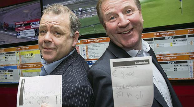 Gary Cooke (Apres Match) and Ronnie Whelan at the official opening of the Ladbrokes shop in Nutgrove Shopping Centre, Rathfarnham NAOISE CULHANE