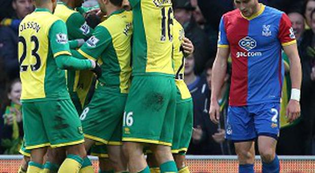 Gary Hooper, obscured, celebrates after scoring