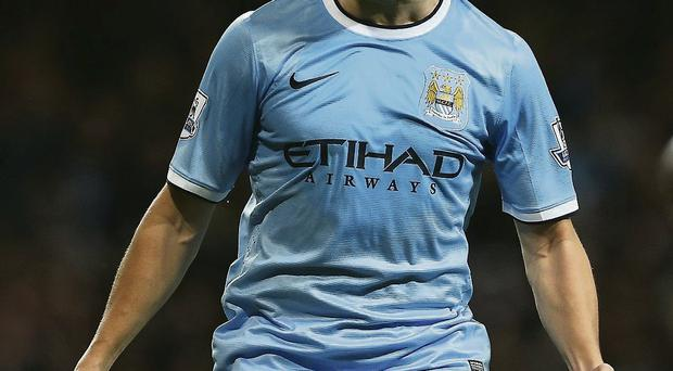 Samir Nasri shows his delight after scoring for Manchester City