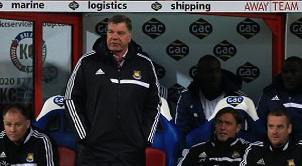 Sam Allardyce, second from left, was said to be 'livid' following the defeat at Selhurst Park