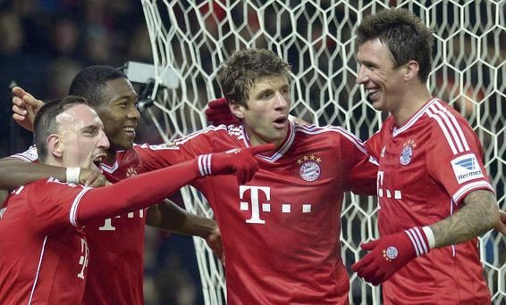 Frank Ribery celebrates after scoring for Bayern Munich