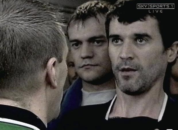 Roy Keane during the incident at Highbury