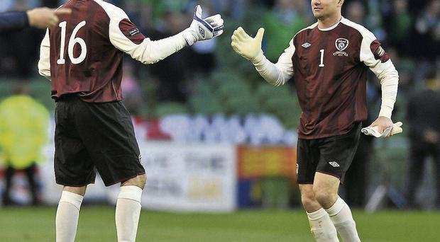 Goalkeeper David Forde replaces Shay Given during Ireland's match against Northern Ireland in 2011