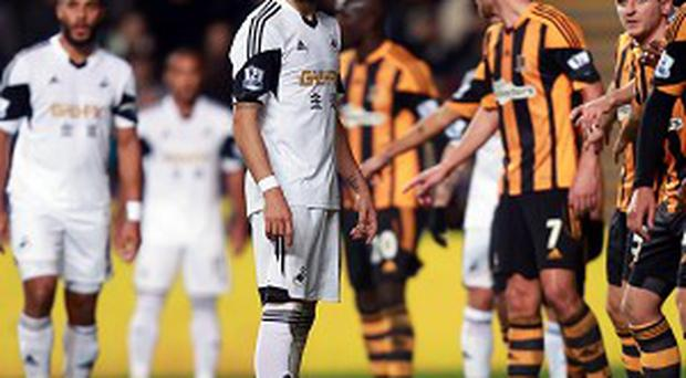 The match between Swansea and Hull boiled over in the closing stages