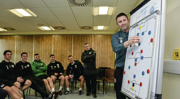 Robbie Keane talks tactics during an FAI/UEFA A Coaching License Course at the Institute of Technology in Carlow in 2014