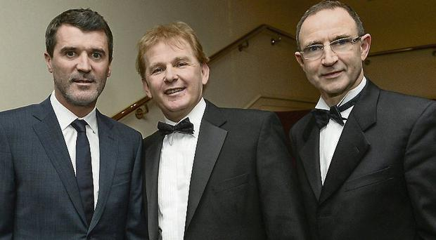St Pat's manager Liam Buckley with Ireland boss Martin O'Neill and assisant Roy Keane at the Airtricity/SWAI Personality of the Year Awards