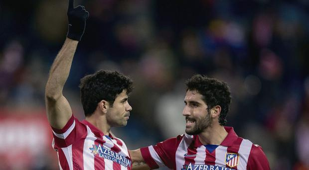 Diego Costa (left) celebrates with team-mate Raul Garcia