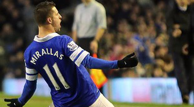 Kevin Mirallas celebrates scoring his side's second goal