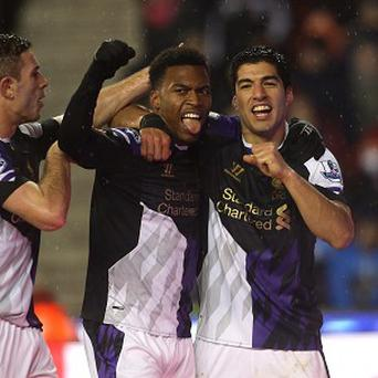 Luis Suarez, right, and Daniel Sturridge, centre, have been in excellent form for Liverpool this season