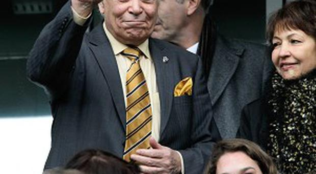 Hull City chairman Assem Allam waves to the crowd before the match.