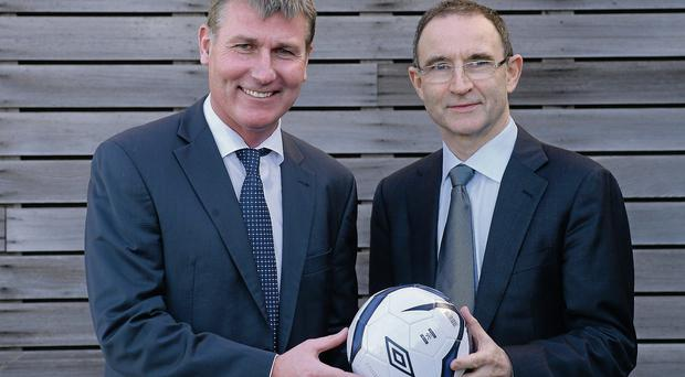Stephen Kenny and Martin O'Neill at the launch of the Dundalk / DKIT partnership