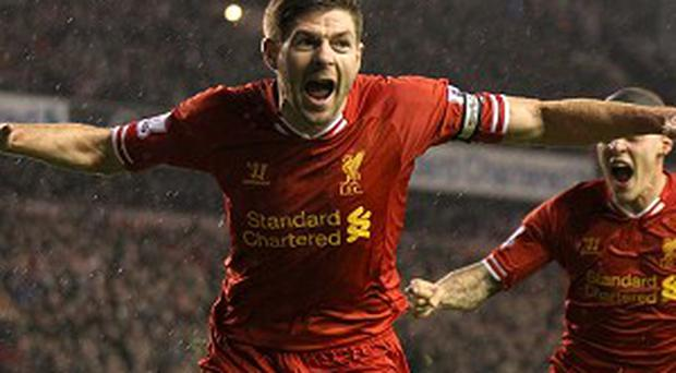 Liverpool's Steven Gerrard gave his side the lead at Anfield