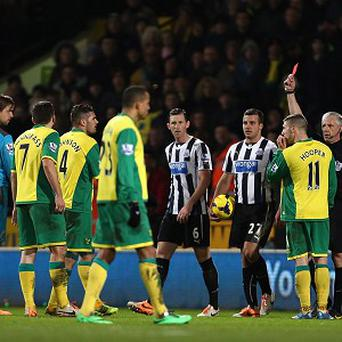 Norwich City's Bradley Johnson, third from left, was sent off