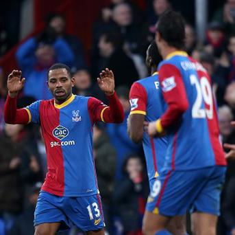 Jason Puncheon, far left, celebrates hitting the only goal of the game