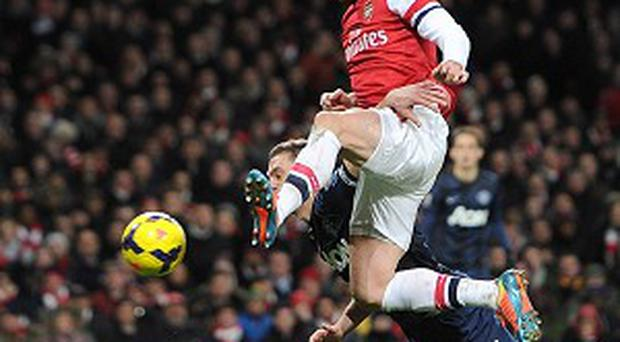 Olivier Giroud had a number of chances for Arsenal