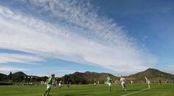 The Irish women's team in action during their training match against the Netherlands at La Manga