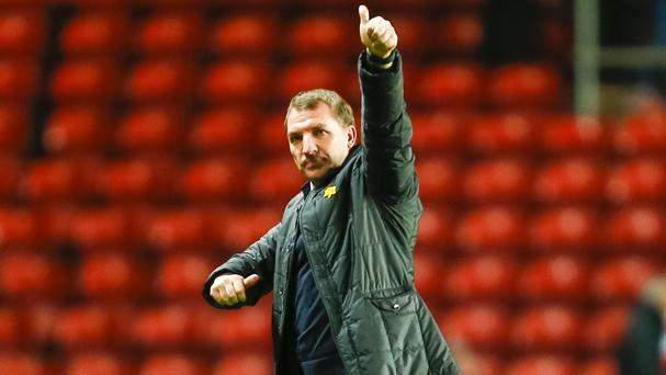 Brendan Rodgers shows his appreciation to Liverpool's travelling supporters after the win at Southampton