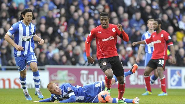 Wilfried Zaha, centre, will be key for Cardiff according to manager Ole Gunnar Solskjaer