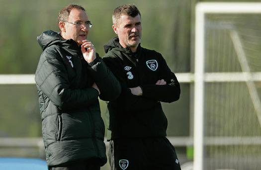 Ireland manager Martin O'Neill and assistant manager Roy Keane