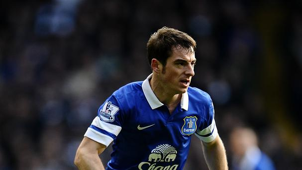 Leighton Baines, pictured, has been hailed by boss Roberto Martinez
