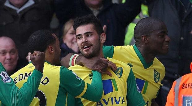 Bradley Johnson celebrates putting Norwich ahead