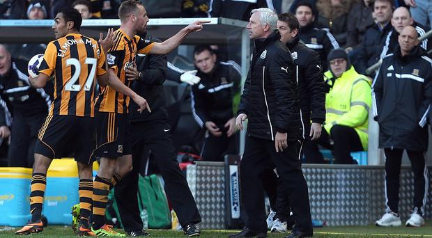 Alan Pardew, right, could be handed a stadium ban