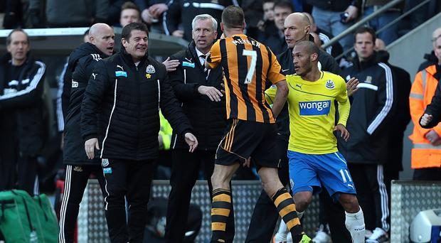 Alan Pardew, centre, has thanked Newcastle United owner Mike Ashley for not sacking him after he clashed with Hull City's David Meyler