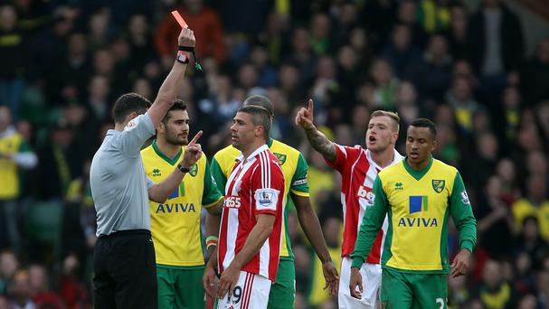 Stoke's Jonathan Walters, centre, has lost his appeal against his red card at Norwich