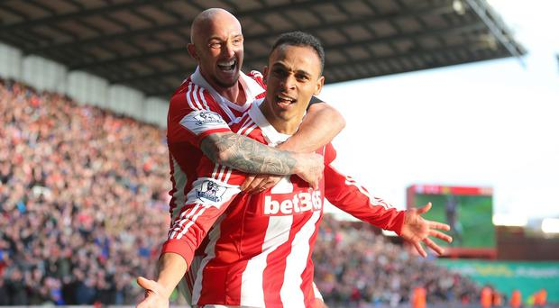 Peter Odemwingie claimed two goals in Stoke's win
