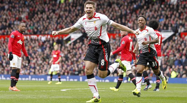 Steven Gerrard scored two penalties but missed a third against Manchester United