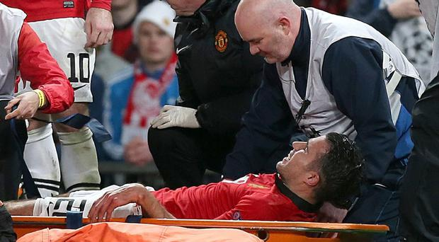 Robin van Persie scored a hat-trick before he was stretchered off