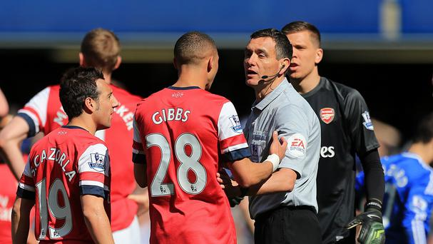 Referee Andre Marriner, centre, will referee Southampton v Newcastle this weekend