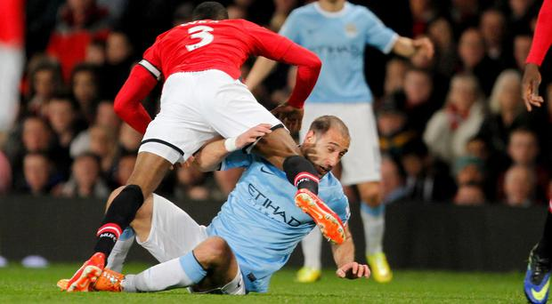 Pablo Zabaleta was in the thick of a physical battle during Manchester City's win at Old Trafford