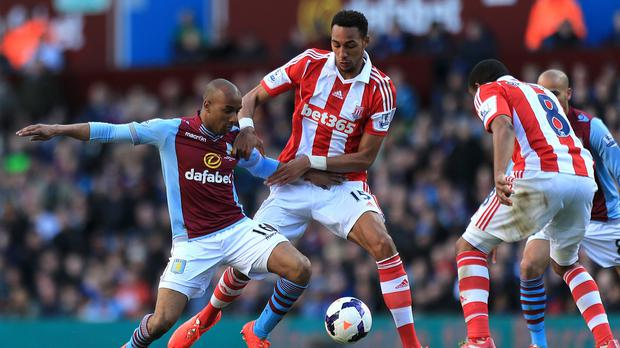 Steven Nzonzi (centre) joined Stoke from Blackburn on a four-year deal in the summer of 2012
