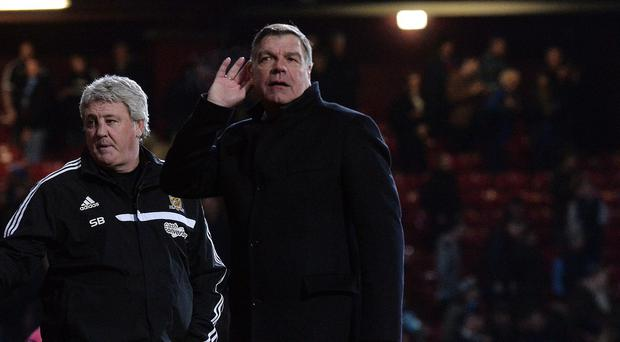 Sam Allardyce, right, was unhappy with the full-time boos
