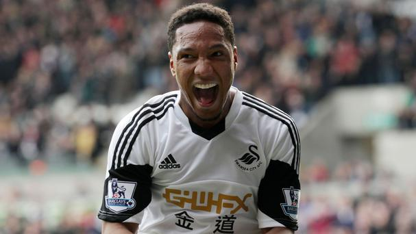 Jonathan de Guzman celebrates scoring his second goal in a 3-0 win over Norwich