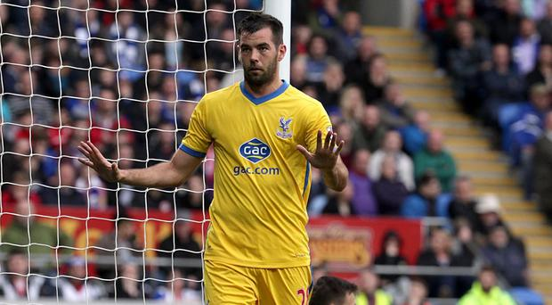 Crystal Palace midfielder Joe Ledley celebrates scoring against his former club Cardiff