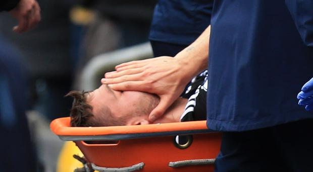 Southampton's Jay Rodriguez is carried off on a stretcher after getting injured
