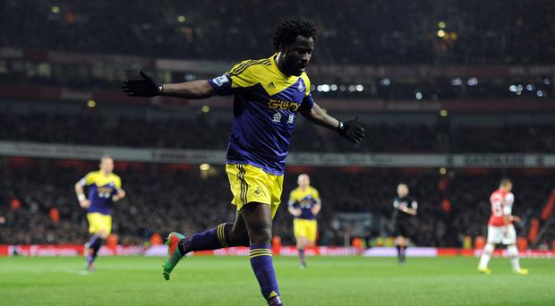 Swansea City's Wilfried Bony is looking to shoot down Swansea
