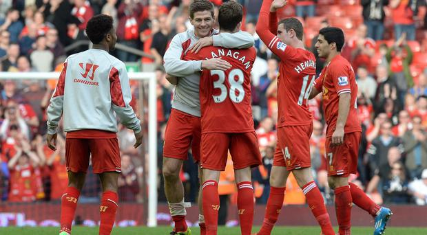 Jon Flanagan, centre right, is full of praise for his captain Steven Gerrard, centre left