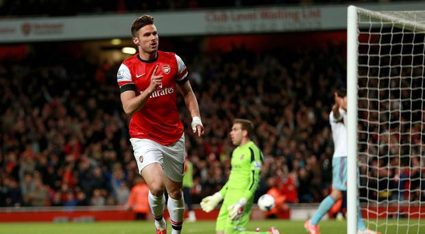 Olivier Giroud scored a superb goal against West Ham to take his season's tally to 20