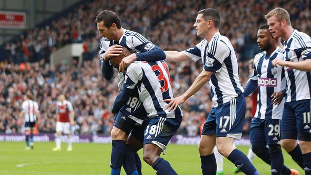 West Bromwich Albion's Saido Berahino celebrates scoring against West Ham United