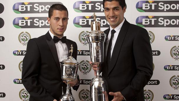 Chelsea's Eden Hazarz, left, won the PFA Young Player Of The Year award, while Luis Suarez, right, claimed the PFA Player of the Year Award