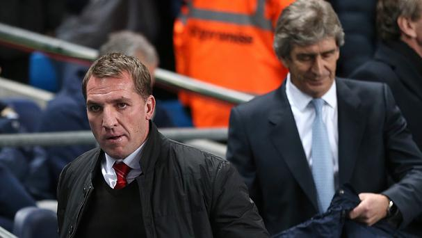 Brendan Rodgers, left, and Manuel Pellegrini, right, are both hoping to lead their sides to the title