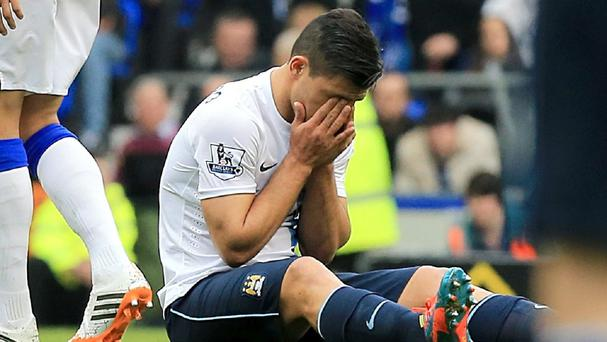 Sergio Aguero suffered the injury against Everton
