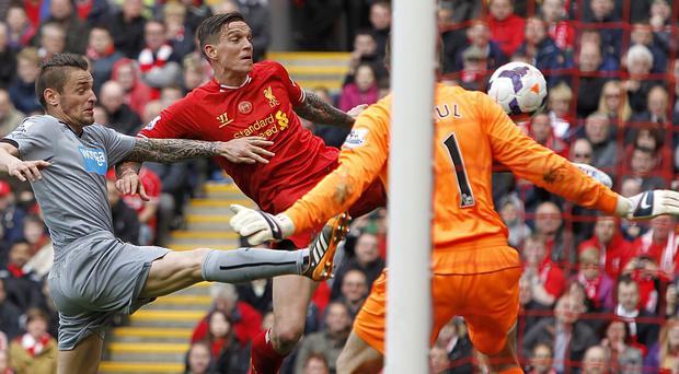 Daniel Agger scores Liverpool's first goal