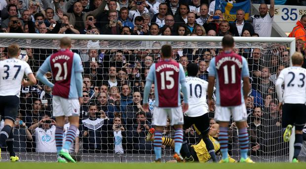 Emmanuel Adebayor sends Brad Guzan the wrong way to make it 3-0