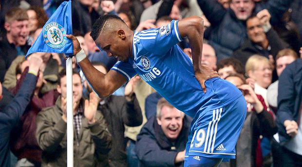 Chelsea's Samuel Eto'o celebrated his goal against Tottenham in March by pretending to be a geriatric