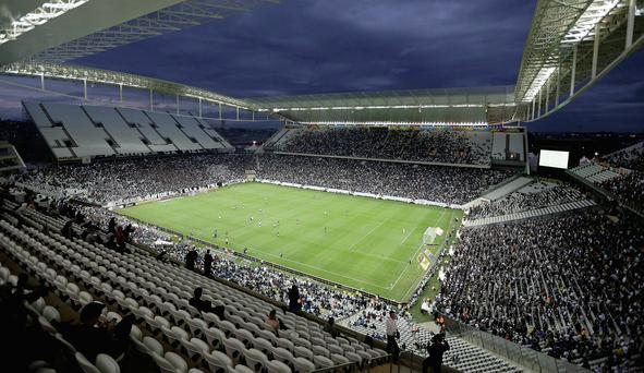 The stadium in Sao Paulo which will host the opening World Cup game on Thursday