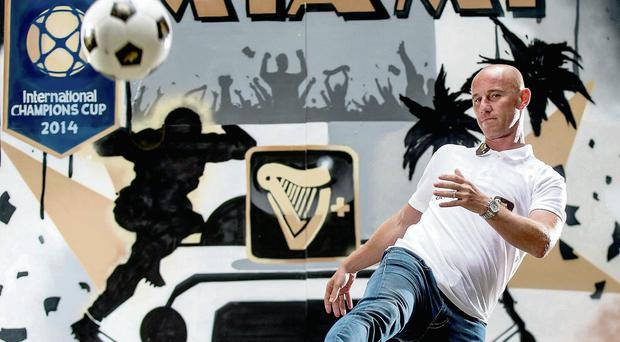 Nicky Butt gets on the ball during his visit to Dublin yesterday